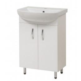 """Тумба для ванной комнаты на ножках """"Артеко-60"""" белая Сансервис в комплекте с раковиной """"Артеко-60"""""""