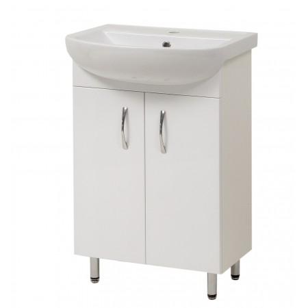 """Тумба для ванной комнаты на ножках """"Артеко-50"""" белая с раковиной """"Артеко-50""""."""