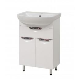 """Тумба для ванной комнаты на ножках """"Лаура-55-2"""" белая Сансервис в комплекте с раковиной """"Артеко-55"""""""
