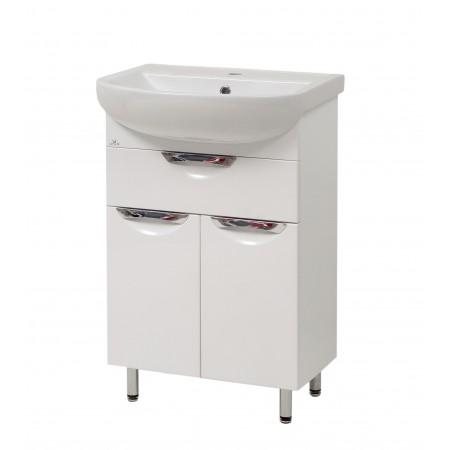 "Тумба для ванной комнаты на ножках ""Лаура-55-2"" белая с раковиной ""Артеко-55"""