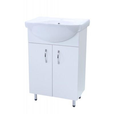 """Тумба для ванной комнаты на ножках """"Лотос-55"""" белая Сансервис в комплекте с раковиной """"Солас"""""""
