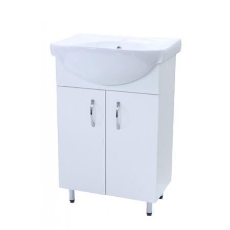 "Тумба для ванной комнаты на ножках ""Лотос-55"" белая с раковиной ""Солас"""