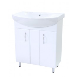 """Тумба для ванной комнаты на ножках """"Лотос-70"""" белая Сансервис в комплекте с раковиной  """"Runa-70"""""""