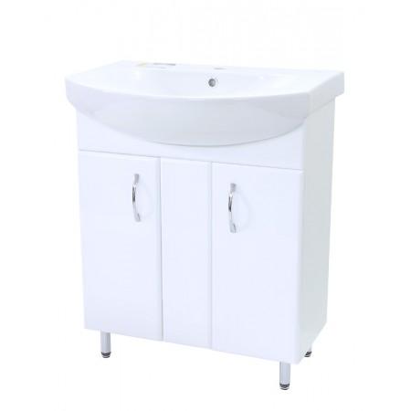 """Тумба для ванной комнаты на ножках """"Лотос-70"""" белая с раковиной  """"Runa-70""""."""