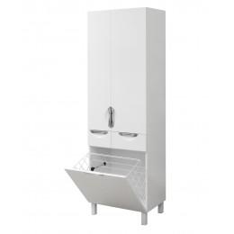 """Пенал для ванной комнаты """"Лаура-60-К"""" на ножках с корзиной для белья 60 см.  белый"""