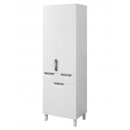 """Пенал для ванной комнаты """"Лаура-60-К"""" на ножках 60 см. белый, с корзиной для белья"""
