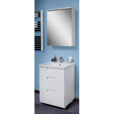 """Тумба с зеркалом для ванной комнаты """"Трио"""" белые 60 см."""