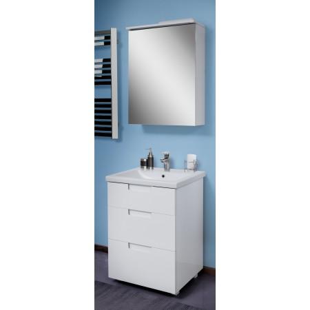 """Тумба и зеркало для ванной комнаты """"Трио"""" белые, 60 см."""