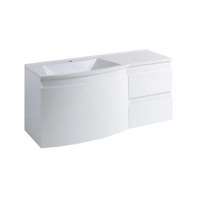 """Тумба для ванной комнаты подвесная """"Славута-120"""" белая в комплекте с раковиной """"Славута-120"""""""