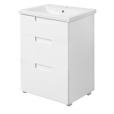 """Тумба для ванной комнаты на ножках """"Трио-60"""" белая с раковиной """"COMO-60"""""""