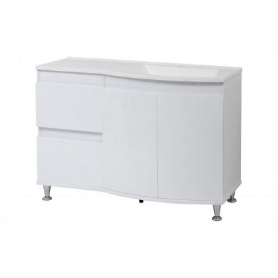 """Тумба для ванной комнаты на ножках """"Славута-120"""" белая в комплекте с раковиной """"Славута-120"""""""