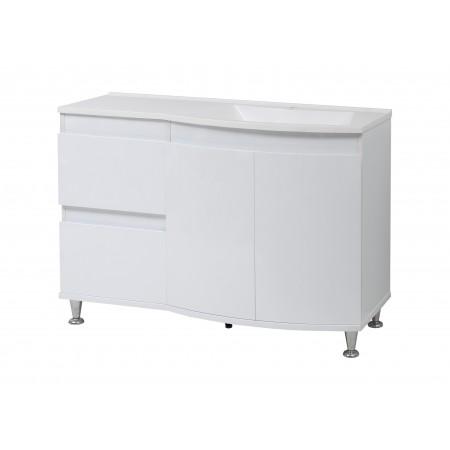 "Тумба для ванной комнаты ""Славута-120"" на ножках белая с умывальником ""Славута-120"""