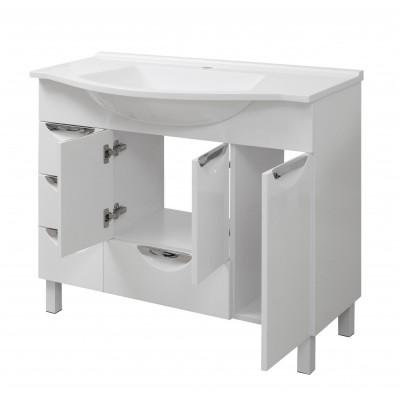 """Тумба для ванной комнаты на ножках """"Лаура-100"""" белая Сансервис в комплекте с раковиной """"Вега-100"""""""