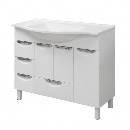 "Тумба для ванной комнаты на ножках ""Лаура-100"" белая с раковиной ""Вега-100""."