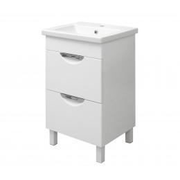 """Тумба для ванной комнаты на ножках """"Лаура-50-2"""" белая Сансервис в комплекте с раковиной """"COMO-50"""""""
