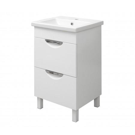 "Тумба для ванной комнаты на ножках ""Лаура-50-2"" белая с раковиной ""COMO-50""."