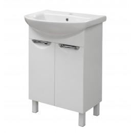"""Тумба для ванной комнаты на ножках """"Лаура-55"""" белая Сансервис в комплекте с раковиной """"Артеко-55"""""""