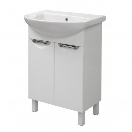 "Тумба для ванной комнаты на ножках ""Лаура-55"" белая с раковиной ""Артеко-55"""