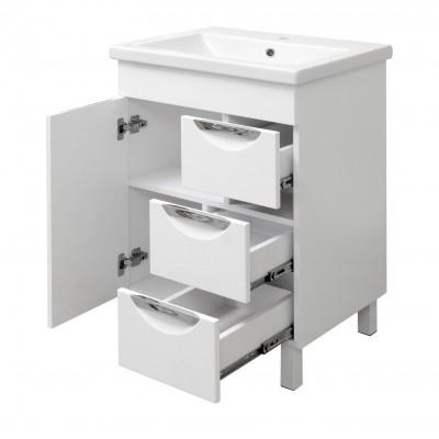 """Тумба для ванной комнаты на ножках """"Лаура-70"""" белая Сансервис в комплекте с раковиной """"COMO-70"""""""