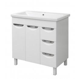"""Тумба для ванной комнаты на ножках """"Лаура-80"""" белая Сансервис в комплекте с раковиной """"COMO-80"""""""