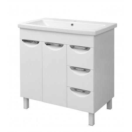 "Тумба для ванной комнаты на ножках ""Лаура-80"" белая с раковиной ""COMO-80""."