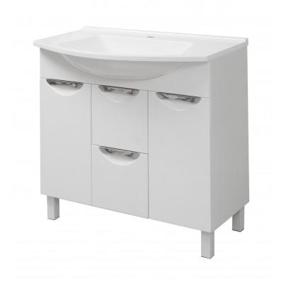 """Тумба для ванной комнаты на ножках """"Лаура-85"""" белая Сансервис в комплекте с раковиной """"Вега-85"""""""