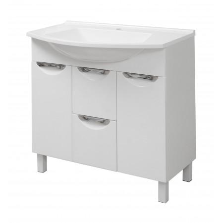 "Тумба для ванной комнаты на ножках ""Лаура-85"" белая с раковиной ""Вега-85""."