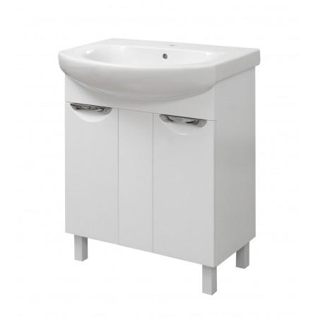 """Тумба для ванной комнаты на ножках """"Лаура-70"""" белая с раковиной """"RUNA-70""""."""
