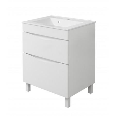 """Тумба для ванной комнаты на ножках """"Марсель-60"""" белая с раковиной """"СОМО-60""""."""