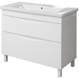 """Тумба для ванной комнаты на ножках """"Марсель-80"""" белая в комплекте с умывальником """"СОМО-80"""""""