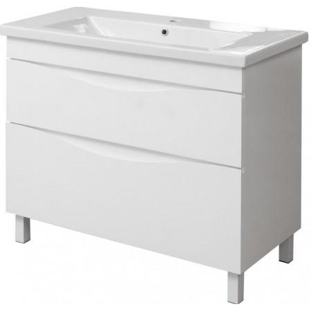 """Тумба для ванной комнаты на ножках """"Марсель-80"""" белая с умывальником """"СОМО-80""""."""