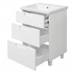"""Тумба для ванной комнаты на ножках """"Трио-60"""" белая Сансервис в комплекте с раковиной """"COMO-60"""""""