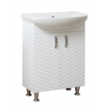 """Тумба для ванной комнаты на ножках """"3D-55"""" белая с раковиной """"Артеко-55""""."""