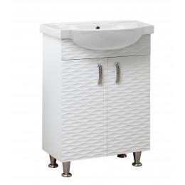"""Тумба для ванной комнаты на ножках """"3D-65"""" белая в комплекте с раковиной """"Фрея-65"""""""