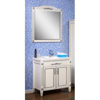 """Тумба с раковиной и зеркало для ванной комнаты """"Романс"""" 80 см. (патина) Сансервис"""
