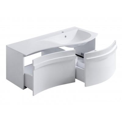 """Тумба для ванной комнаты подвесная """"Хвыля-110"""" белая в комплекте с раковиной """"Хвыля-110"""""""