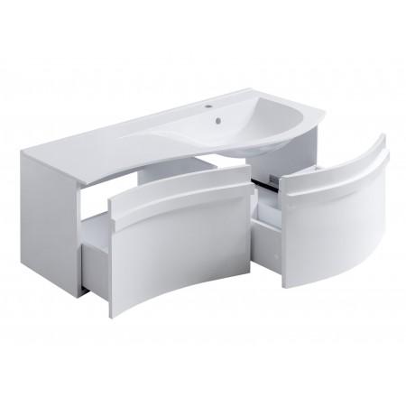 Мебель для ванных комнат с гнутыми фасадами.