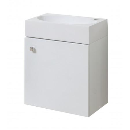 """Тумба подвесная для ванной комнаты """"Оби-45"""" белая с умывальником """"Оби-45""""."""