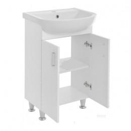 """Тумба для ванной комнаты на ножках """"3D-60"""" белая в комплекте с раковиной """"Артеко-60"""""""