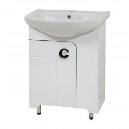"""Тумба для ванной комнаты на ножках """"Элиза-56"""" белая/черная/красная в комплекте с раковиной """"Солас"""""""