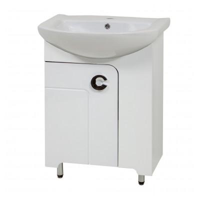 """Тумба для ванной комнаты на ножках """"Элиза-55"""" белая/черная/красная в комплекте с раковиной """"Артеко-55"""""""