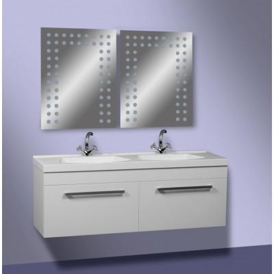 """Тумба для ванной комнаты подвесная с двойной чашей """"Двойная-125"""" белая Сансервис в комплекте с раковиной """"Двойная-125"""""""