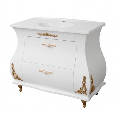 """Тумба для ванной комнаты с гнутыми фасадами """"Валенсия-100"""" белая (с декором) в комплекте с раковиной """"Романс-100"""""""