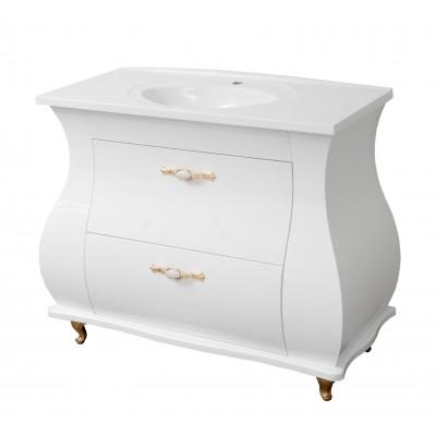 """Тумба для ванной комнаты с гнутыми фасадами """"Валенсия-100"""" белая в комплекте с раковиной """"Романс-100"""""""