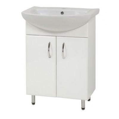 """Тумба для ванной комнаты на ножках """"Либра-50"""" белая Сансервис в комплекте с раковиной """"Либра-50"""""""