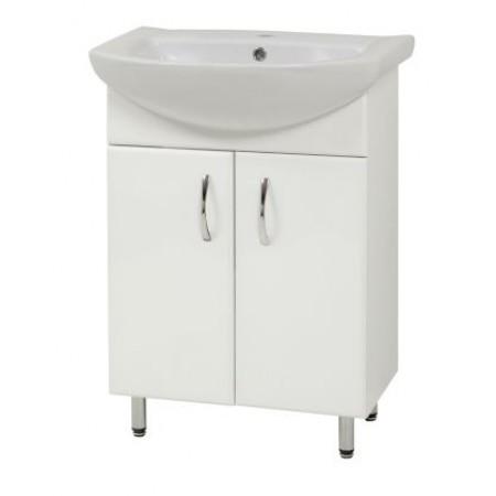"Тумба для ванной комнаты на ножках ""LR-60"" белая с раковиной ""Либра-60"""