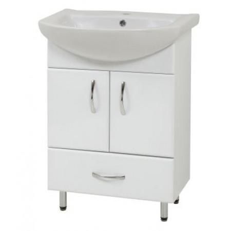 "Тумба для ванной комнаты на ножках ""LR-60-2"" белая с раковиной ""Либра-60""."