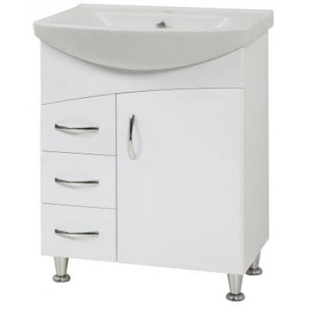 "Тумба для ванной комнаты на ножках ""LR-60-Дуга"" белая с раковиной ""Либра-60"""