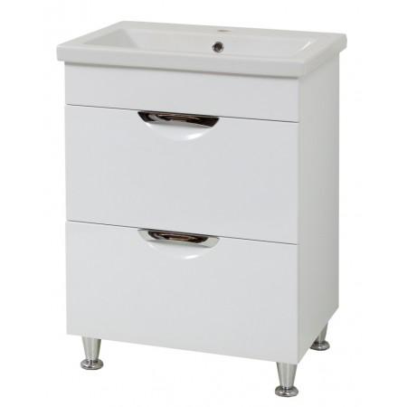 "Тумба для ванной комнаты на ножках ""Лаура-60-2"" белая с раковиной ""COMO-60""."