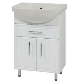 """Тумба для ванной комнаты на ножках """"SL-56-2-F"""" белая Сансервис в комплекте с раковиной """"Солас"""""""